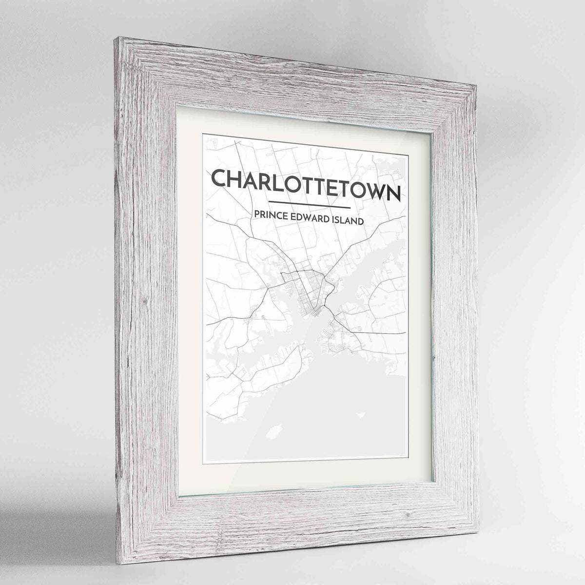 "Framed Charlottetown City Map 24x36"" Western White frame Point Two Design Group"
