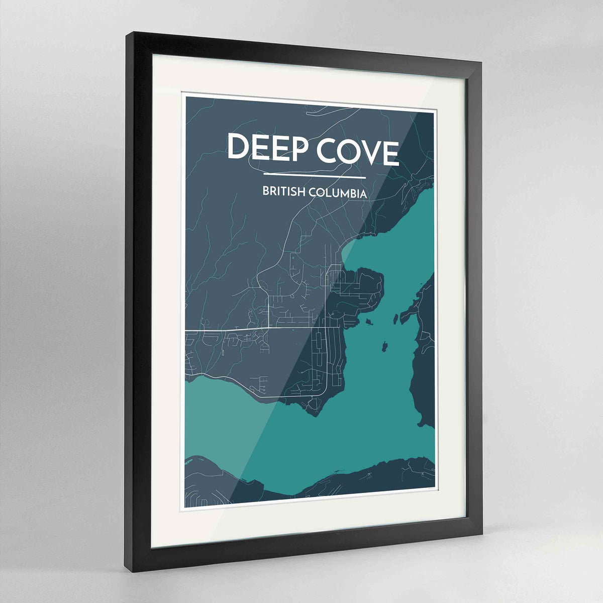"Framed Deep Cove Map Art Print 24x36"" Contemporary Black frame Point Two Design Group"