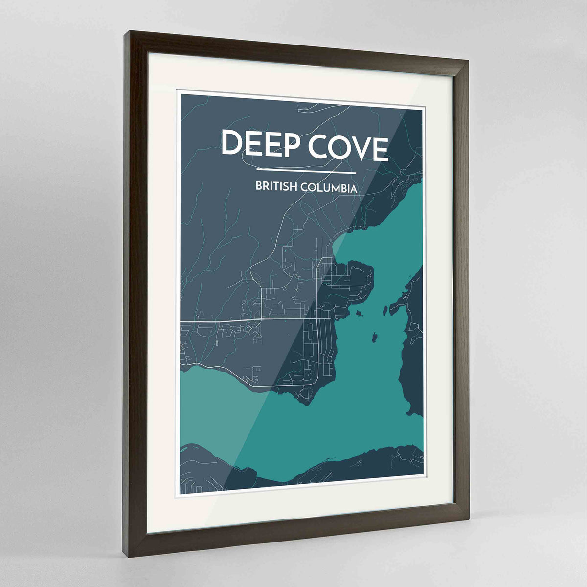 "Framed Deep Cove Map Art Print 24x36"" Contemporary Walnut frame Point Two Design Group"