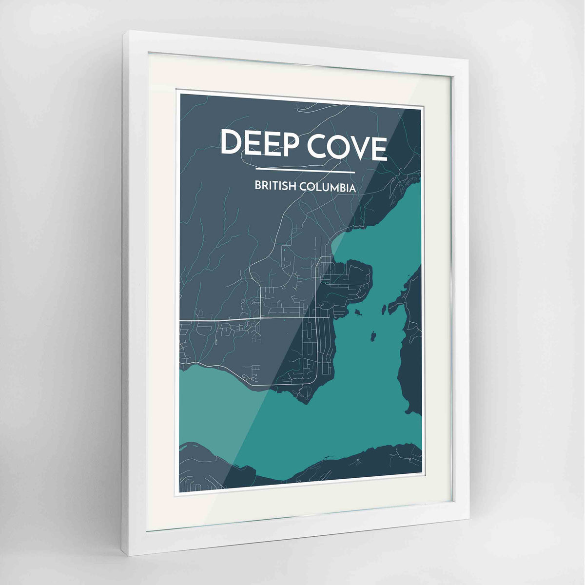 "Framed Deep Cove Map Art Print 24x36"" Contemporary White frame Point Two Design Group"