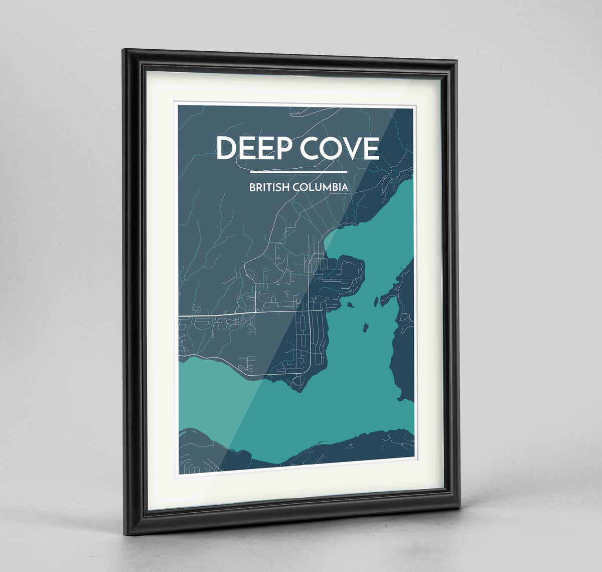 "Framed Deep Cove Map Art Print 24x36"" Traditional Black frame Point Two Design Group"
