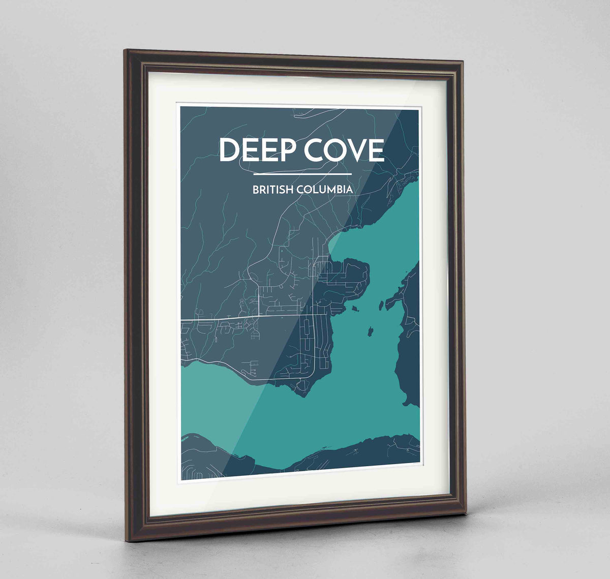 "Framed Deep Cove Map Art Print 24x36"" Traditional Walnut frame Point Two Design Group"