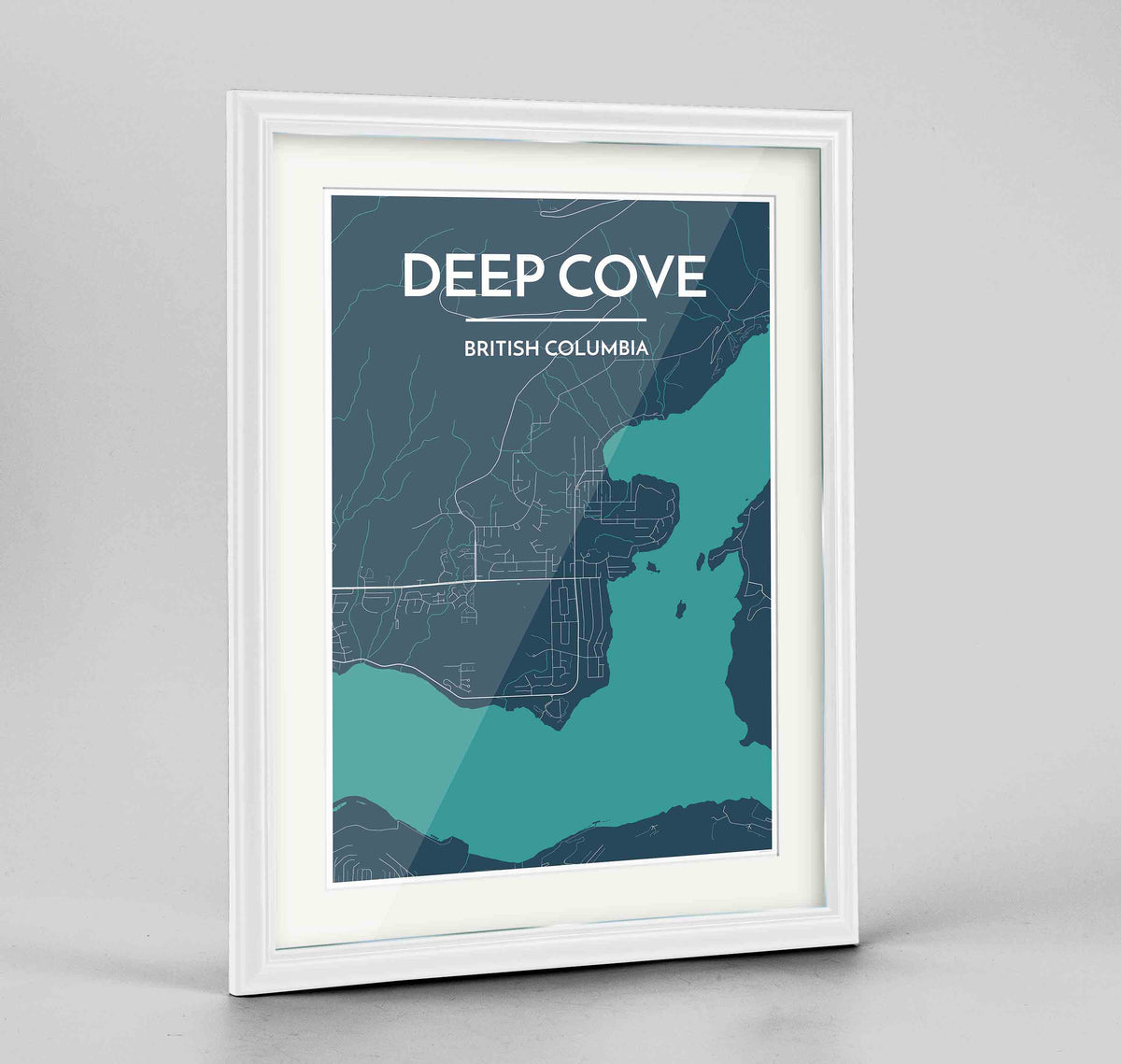 "Framed Deep Cove Map Art Print 24x36"" Traditional White frame Point Two Design Group"