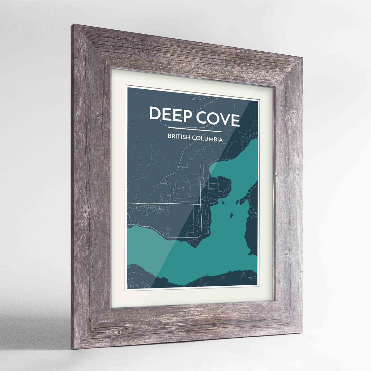 "Framed Deep Cove Map Art Print 24x36"" Western Grey frame Point Two Design Group"