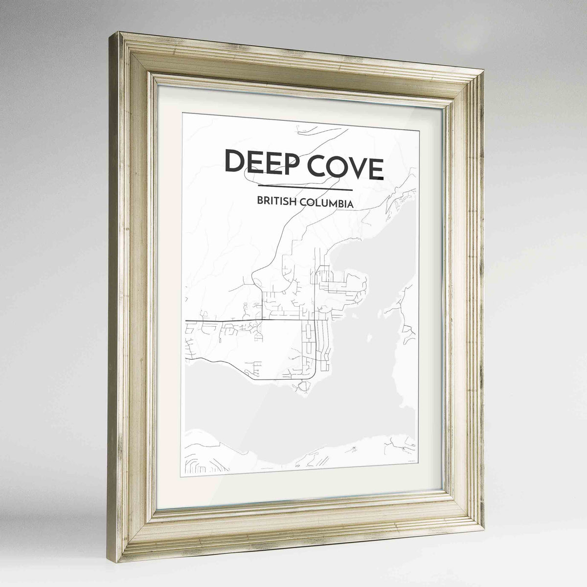 "Framed Deep Cove Map Art Print 24x36"" Champagne frame Point Two Design Group"