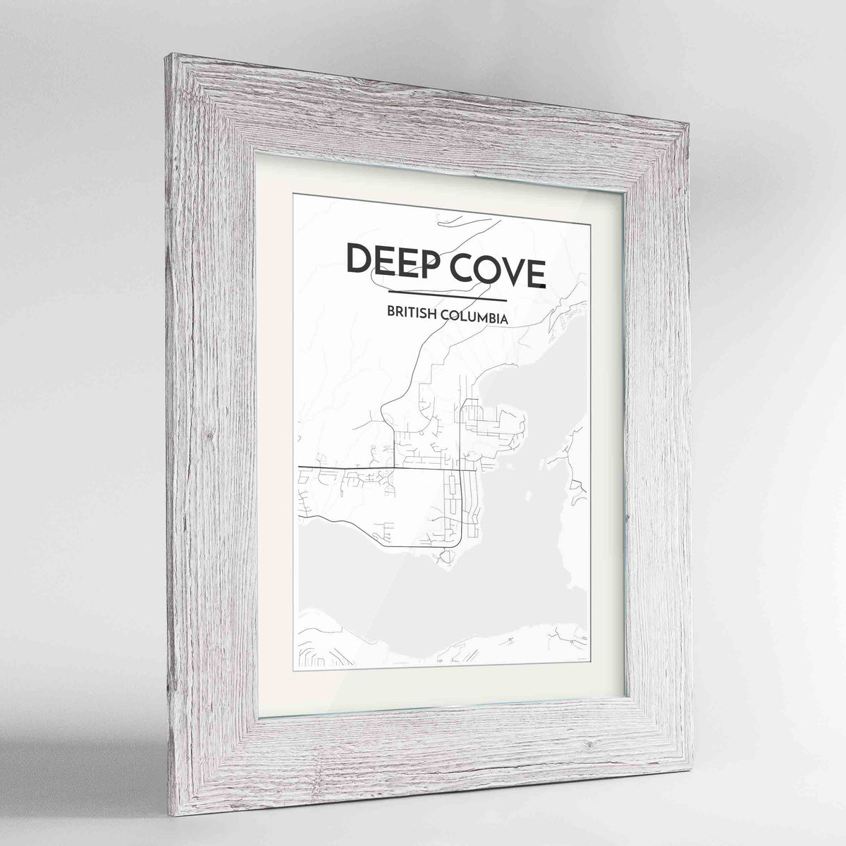 "Framed Deep Cove Map Art Print 24x36"" Western White frame Point Two Design Group"