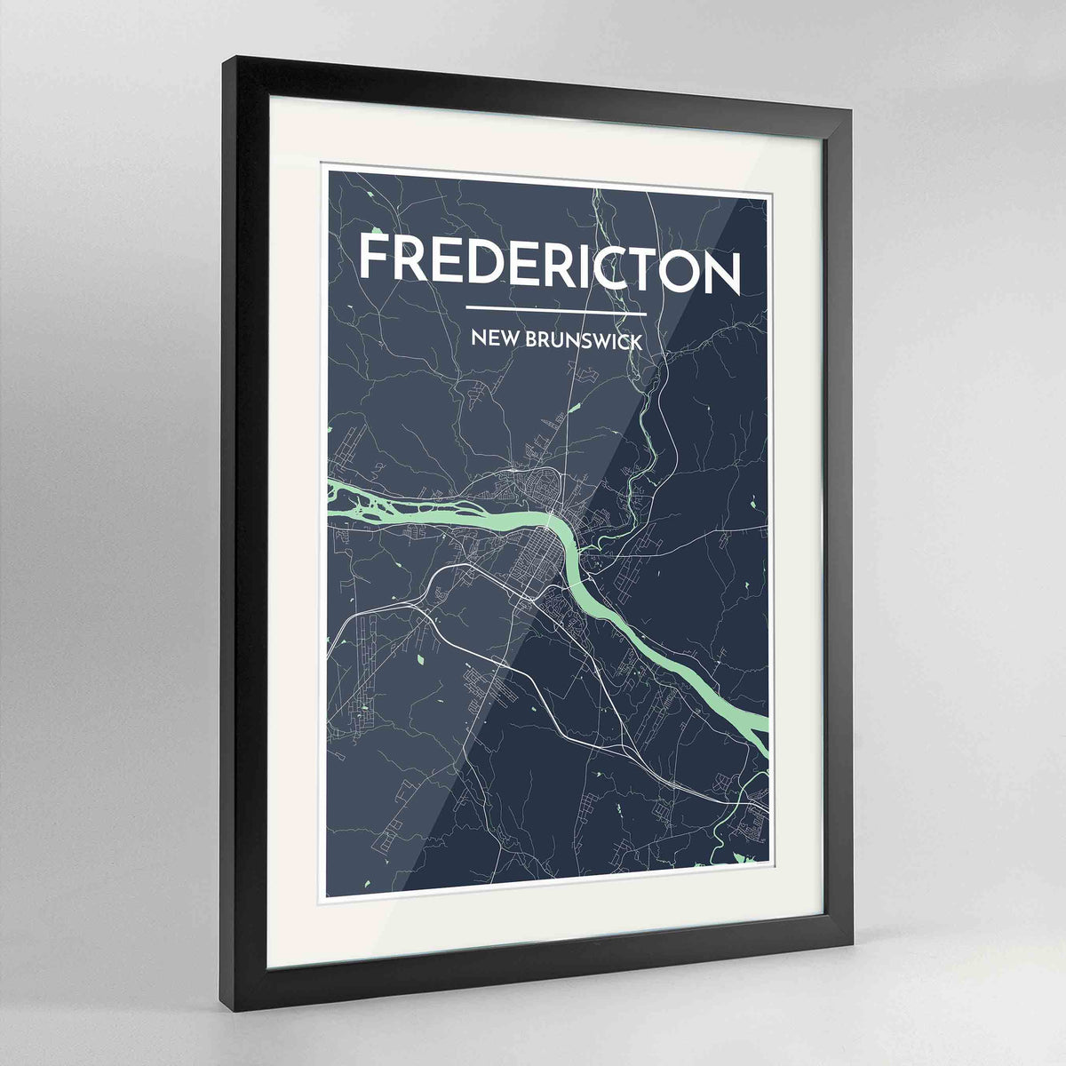 "Framed Fredericton City Map 24x36"" Contemporary Black frame Point Two Design Group"