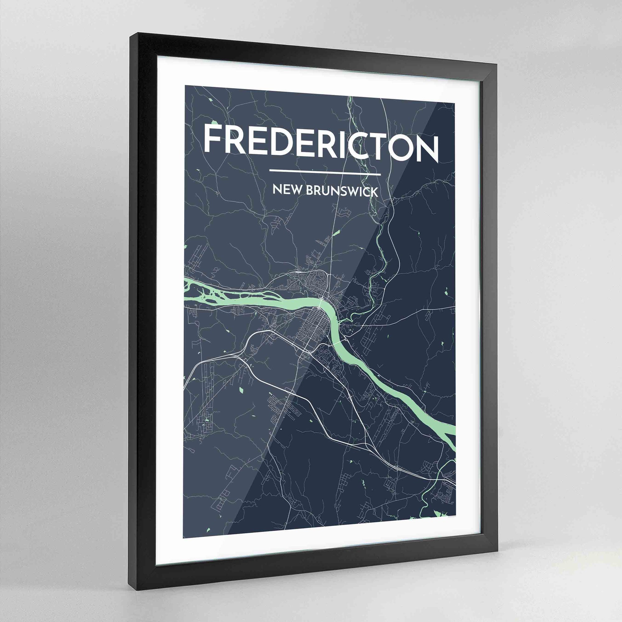 Framed Fredericton City Map - Point Two Design