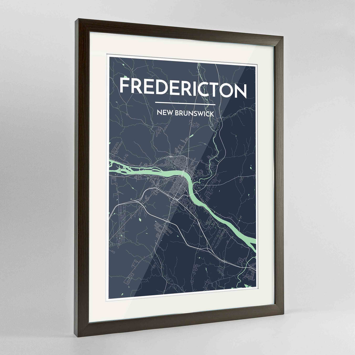 "Framed Fredericton City Map 24x36"" Contemporary Walnut frame Point Two Design Group"