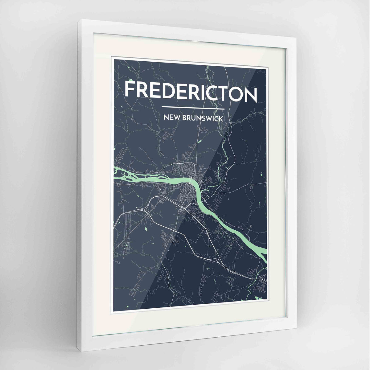 "Framed Fredericton City Map 24x36"" Contemporary White frame Point Two Design Group"
