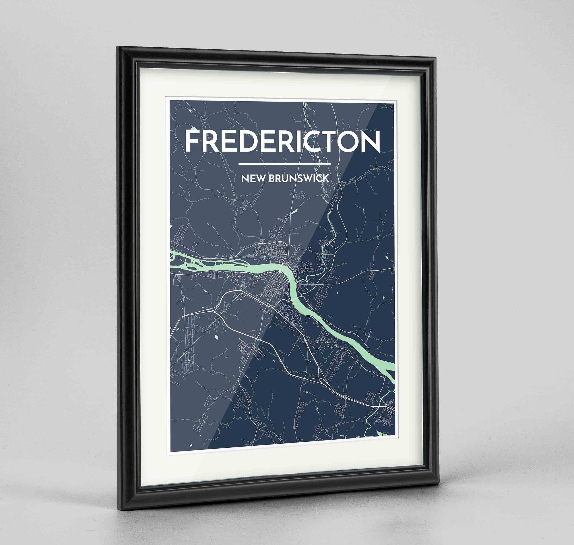 "Framed Fredericton City Map 24x36"" Traditional Black frame Point Two Design Group"
