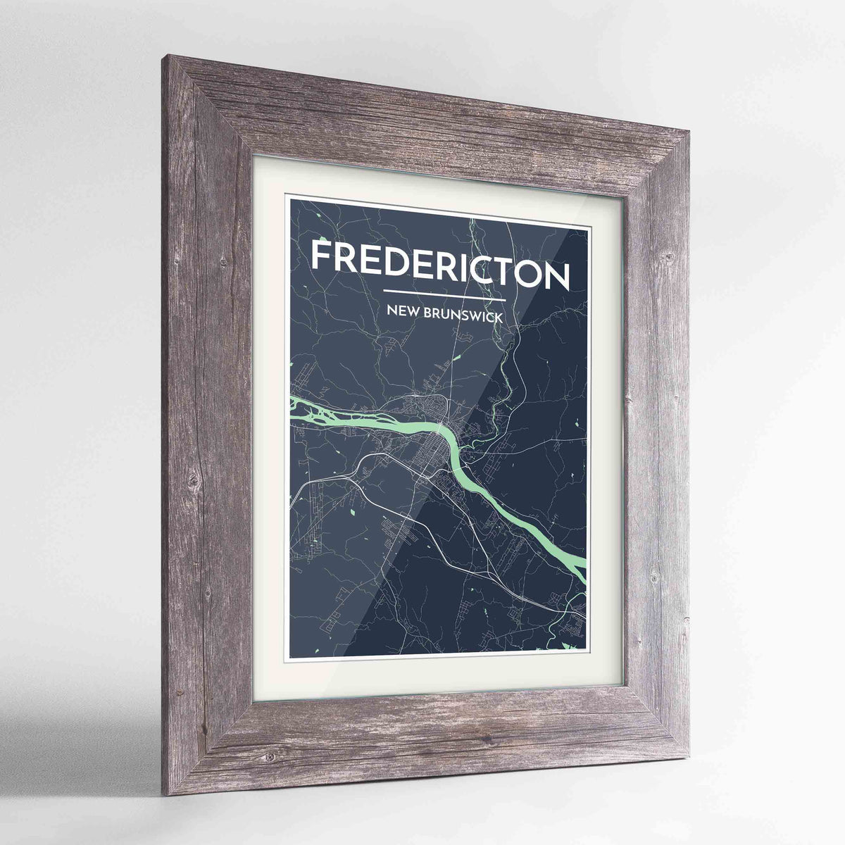 "Framed Fredericton City Map 24x36"" Western Grey frame Point Two Design Group"