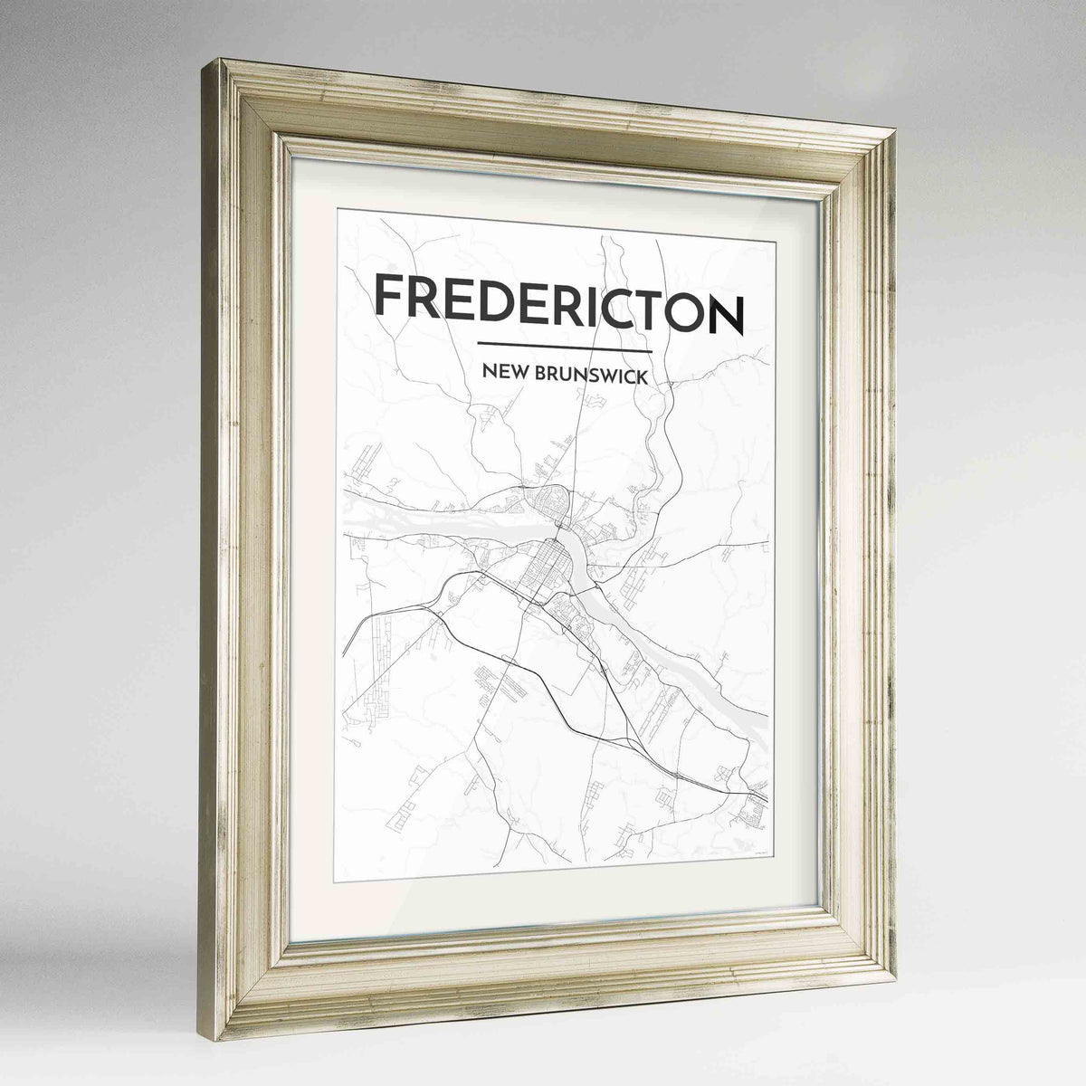 "Framed Fredericton City Map 24x36"" Champagne frame Point Two Design Group"