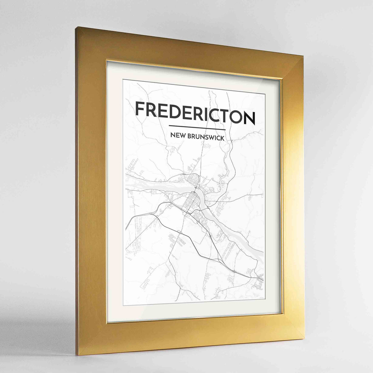 "Framed Fredericton City Map 24x36"" Gold frame Point Two Design Group"
