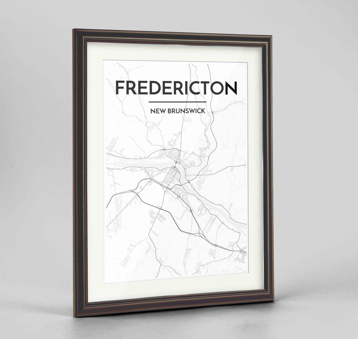 "Framed Fredericton City Map 24x36"" Traditional Walnut frame Point Two Design Group"