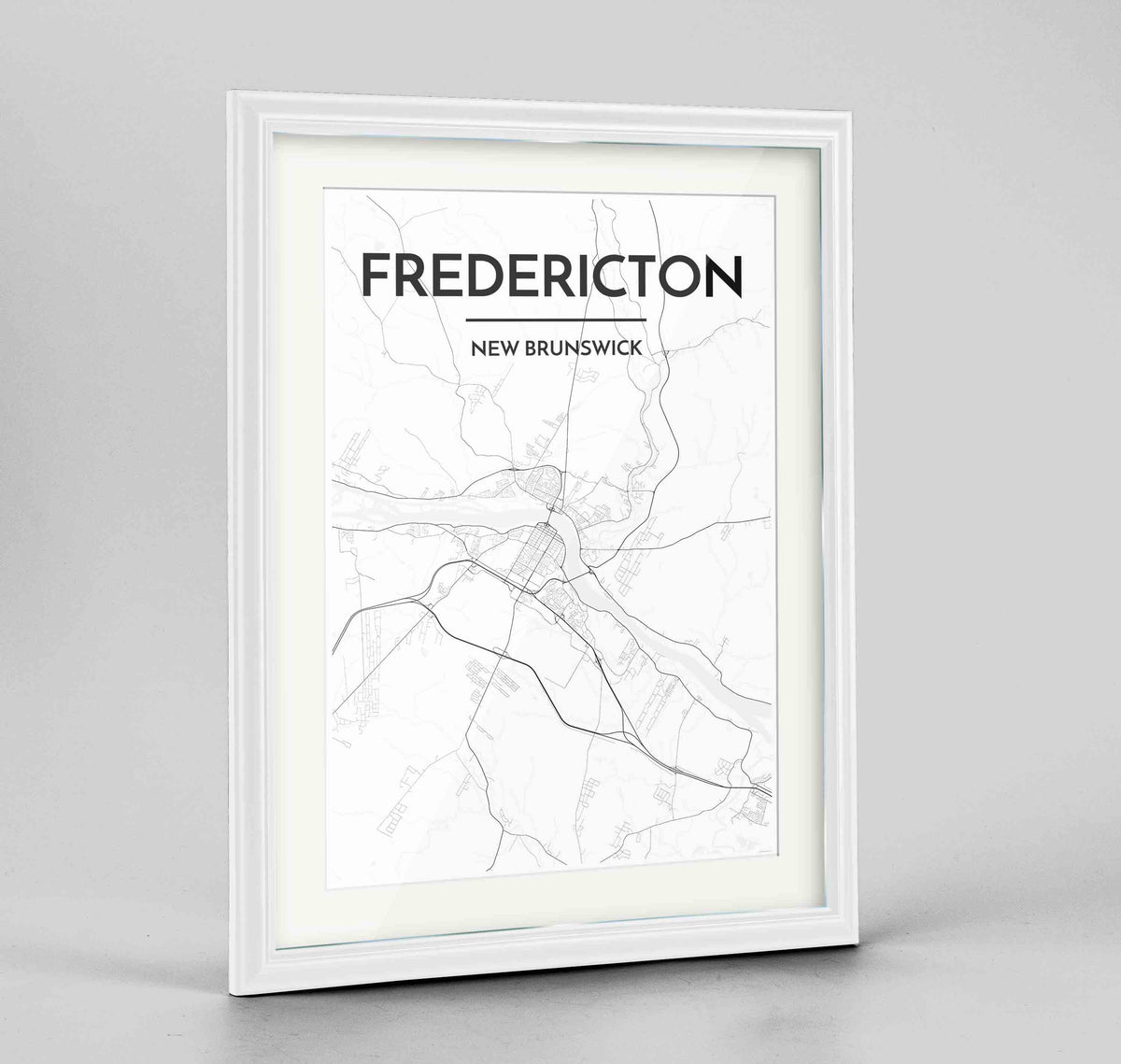 "Framed Fredericton City Map 24x36"" Traditional White frame Point Two Design Group"