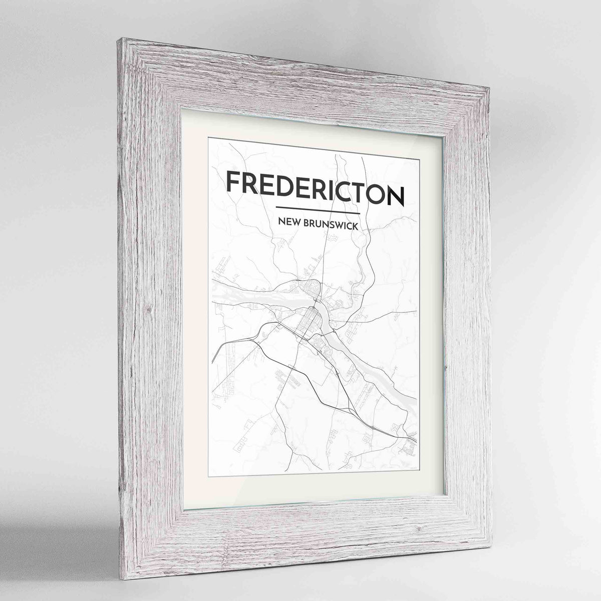 "Framed Fredericton City Map 24x36"" Western White frame Point Two Design Group"