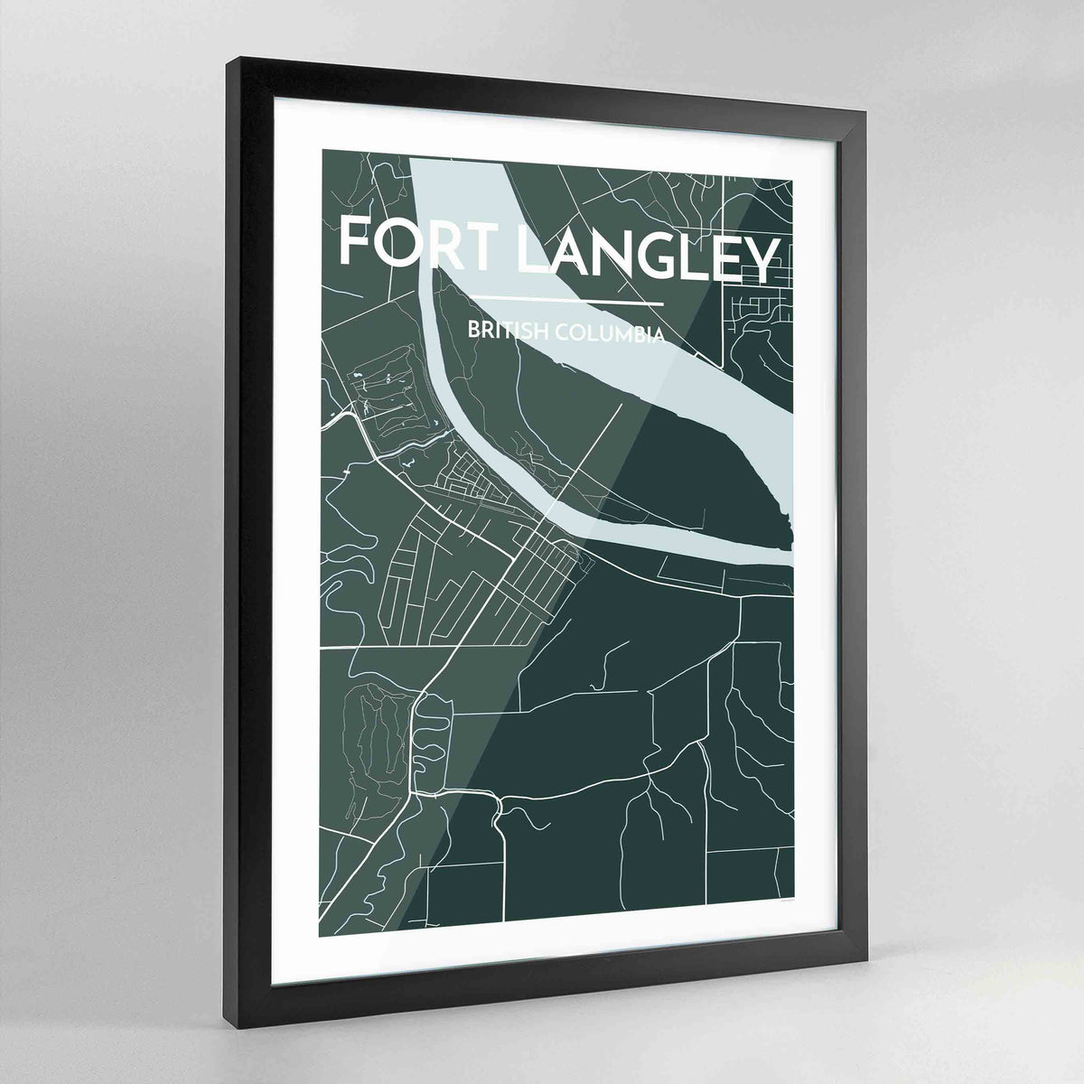 Framed Fort Langley City Map - Point Two Design
