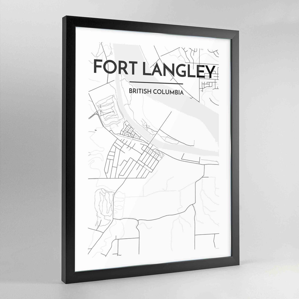 Fort Langley Map Art Print - Framed