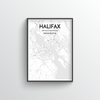 Halifax City Map Art Print - Point Two Design - Black and White