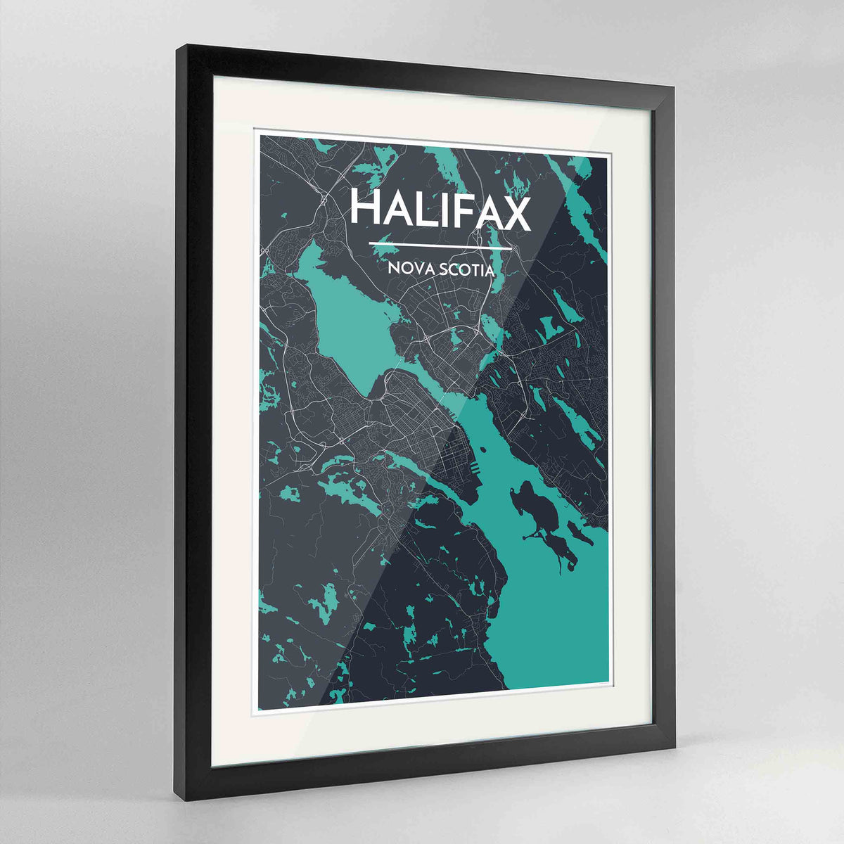 "Framed Halifax City Map 24x36"" Contemporary Black frame Point Two Design Group"