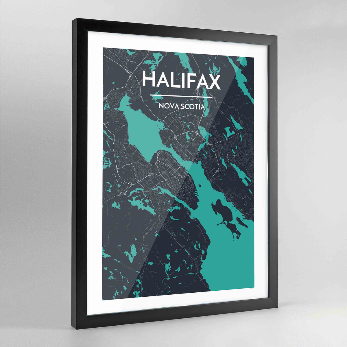 Framed Halifax City Map Art Print - Point Two Design