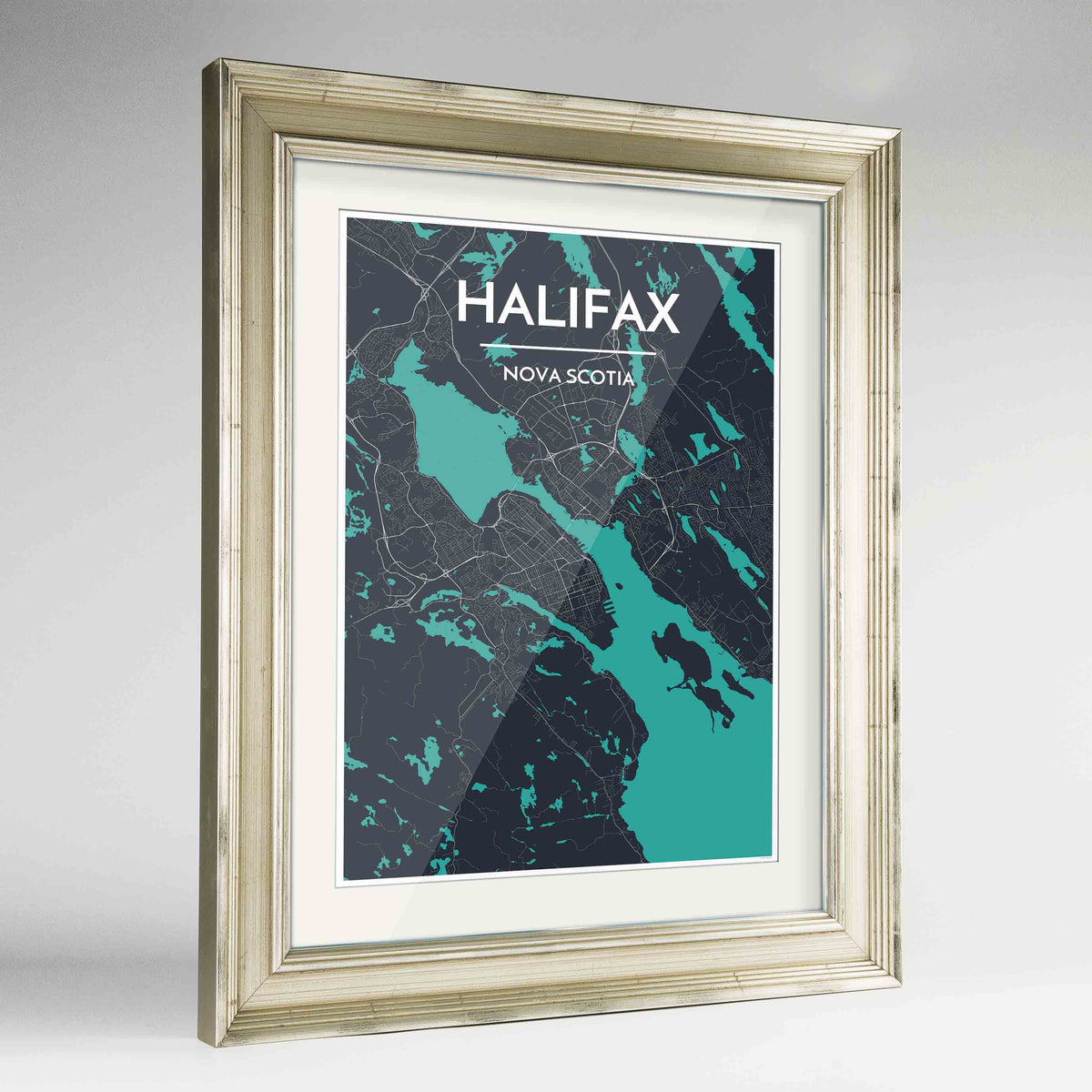 "Framed Halifax City Map 24x36"" Champagne frame Point Two Design Group"