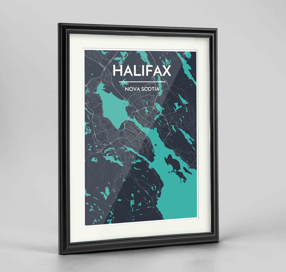 "Framed Halifax City Map 24x36"" Traditional Black frame Point Two Design Group"