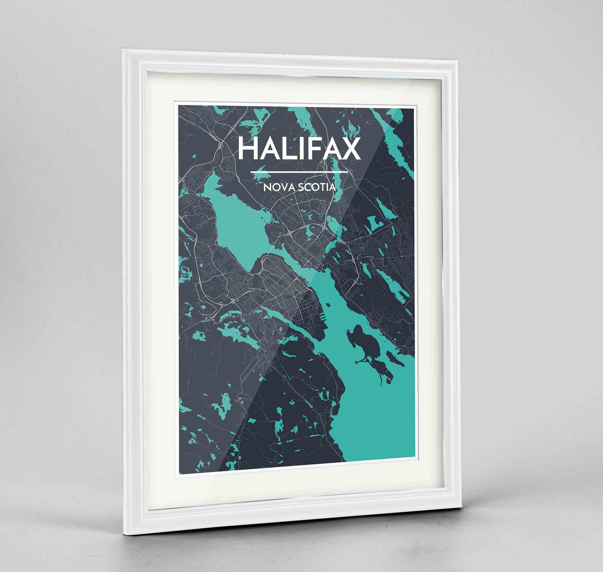 "Framed Halifax City Map 24x36"" Traditional White frame Point Two Design Group"