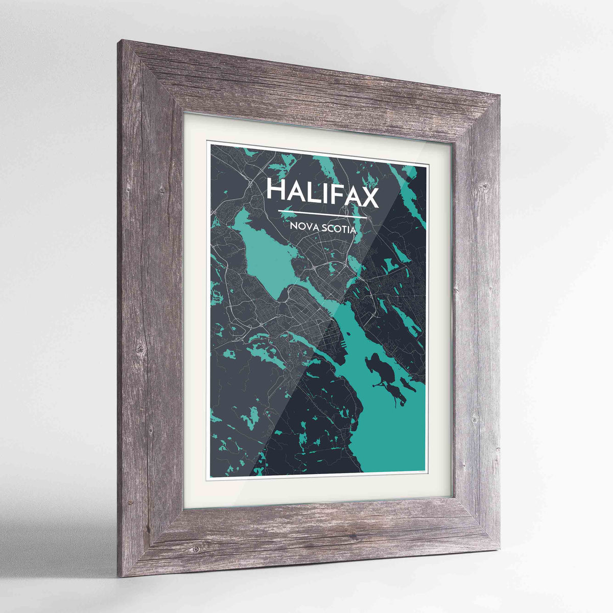 "Framed Halifax City Map 24x36"" Western Grey frame Point Two Design Group"