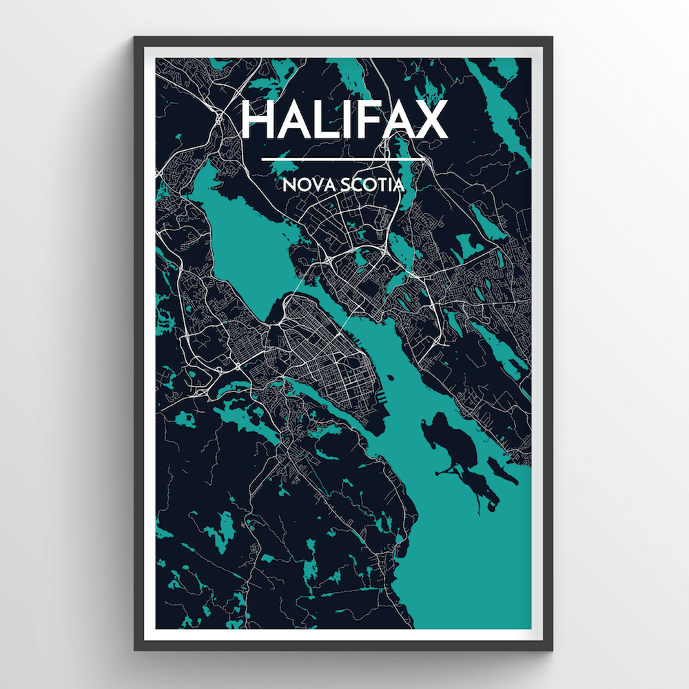 Halifax City Map Art Print - Point Two Design