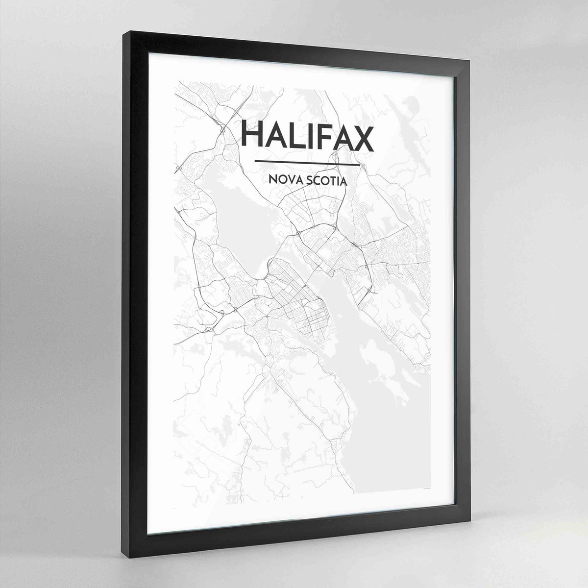Halifax Map Art Print - Framed