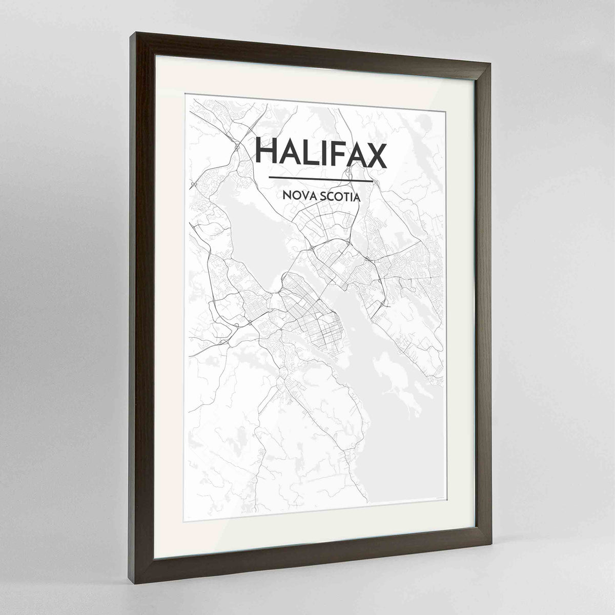 "Framed Halifax City Map 24x36"" Contemporary Walnut frame Point Two Design Group"