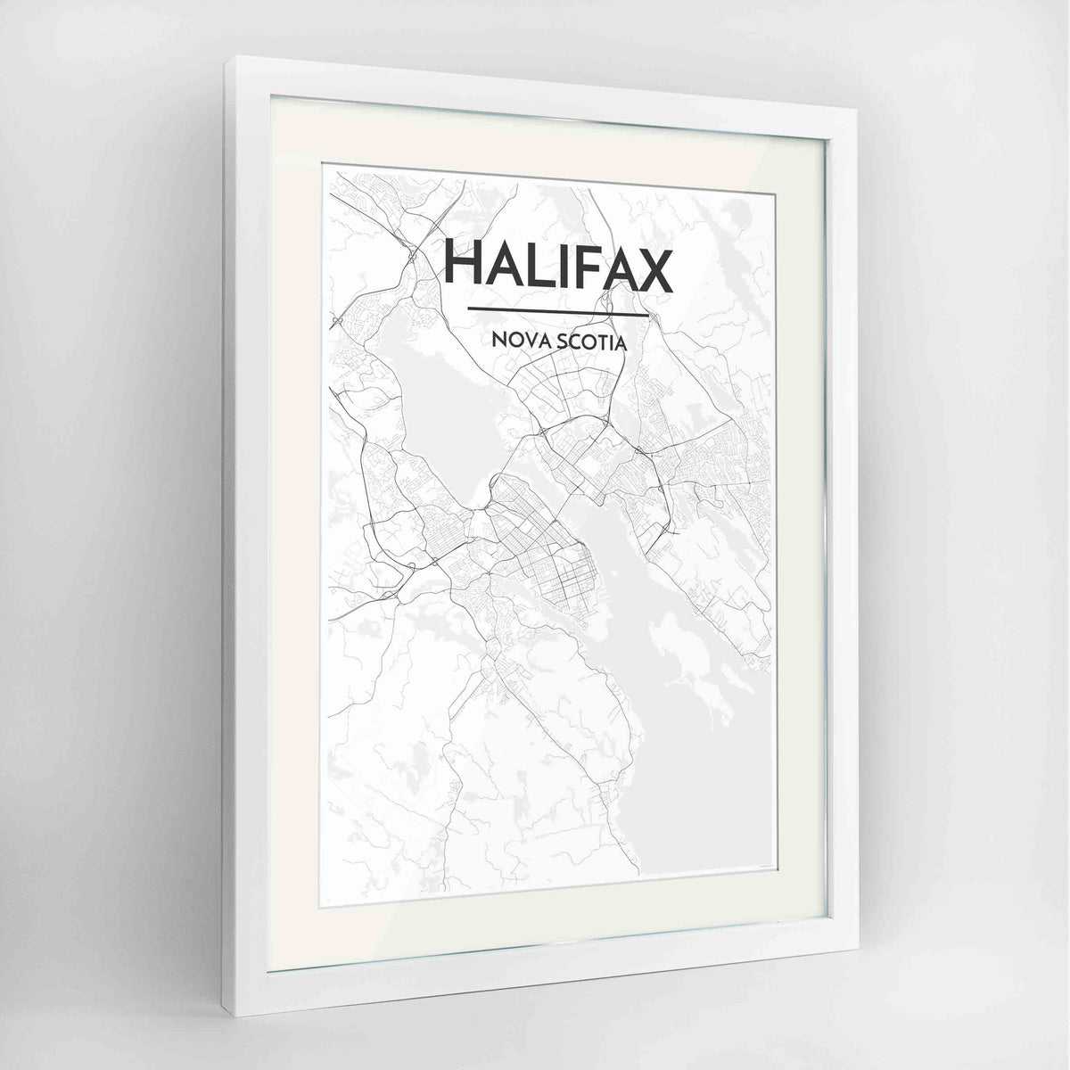 "Framed Halifax City Map 24x36"" Contemporary White frame Point Two Design Group"