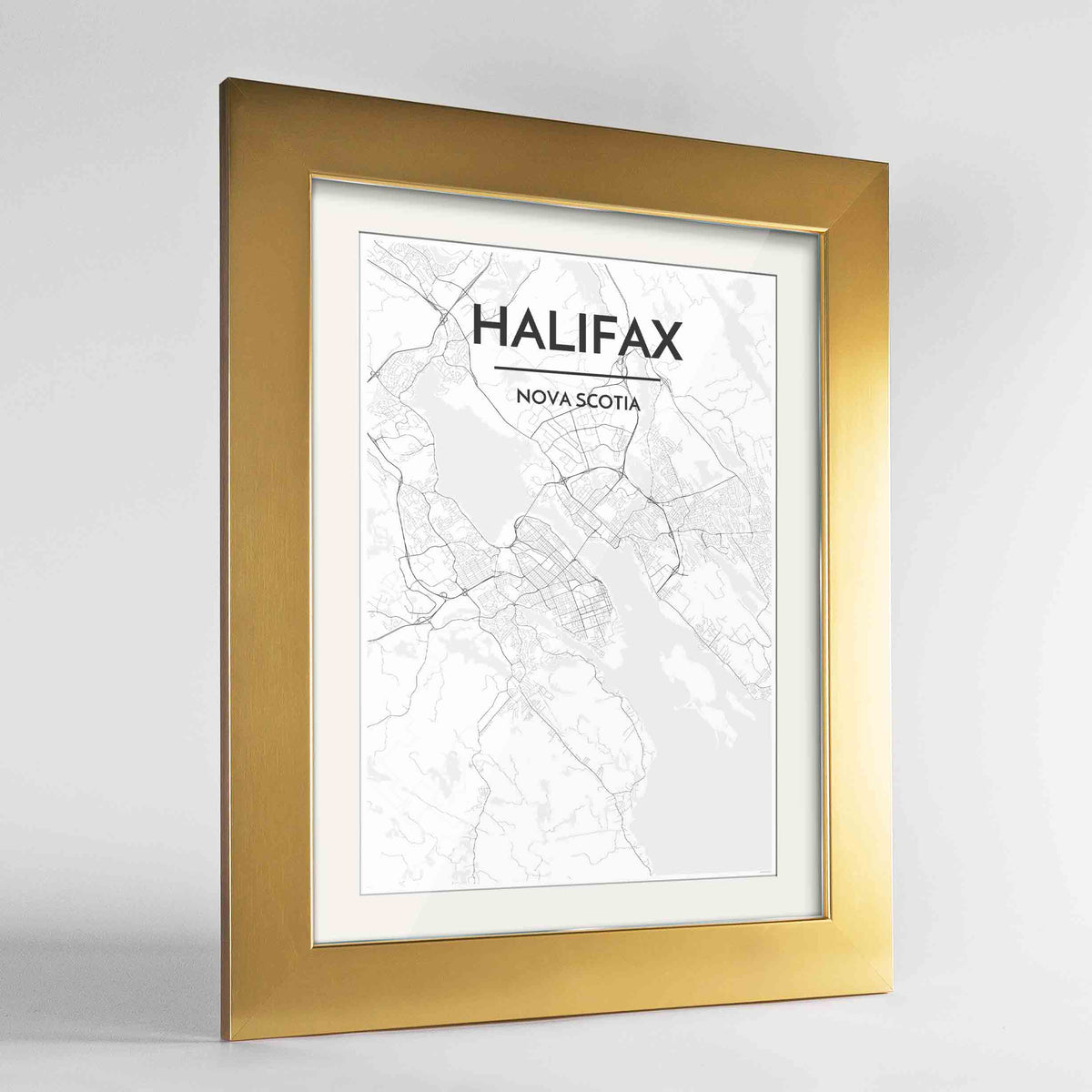"Framed Halifax City Map 24x36"" Gold frame Point Two Design Group"