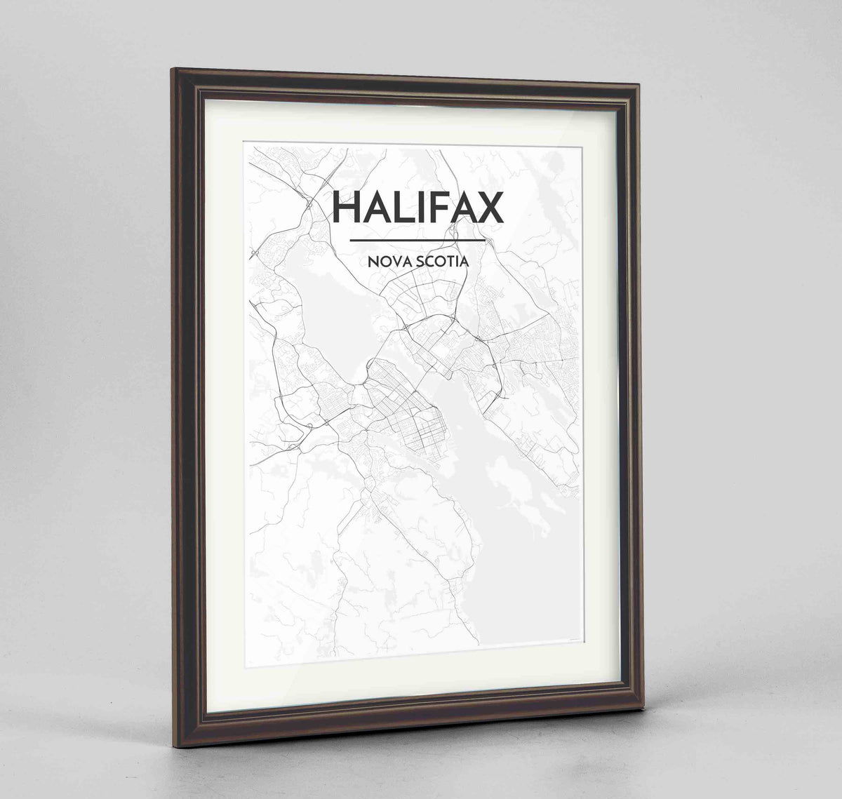 "Framed Halifax City Map 24x36"" Traditional Walnut frame Point Two Design Group"