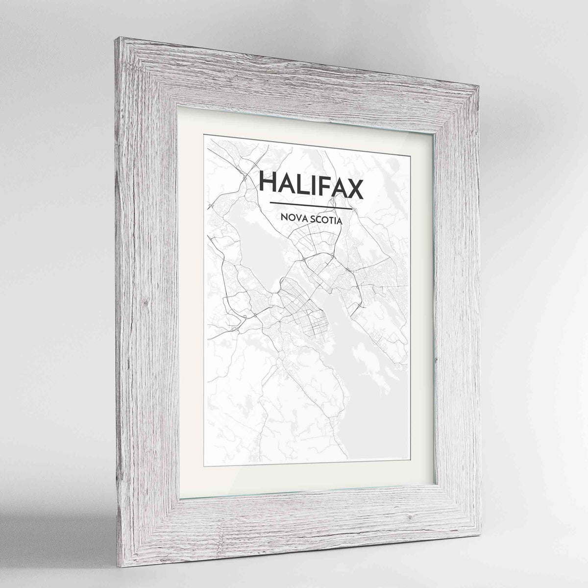 "Framed Halifax City Map 24x36"" Western White frame Point Two Design Group"