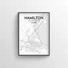 Hamilton City Map Art Print - Point Two Design - Black and White