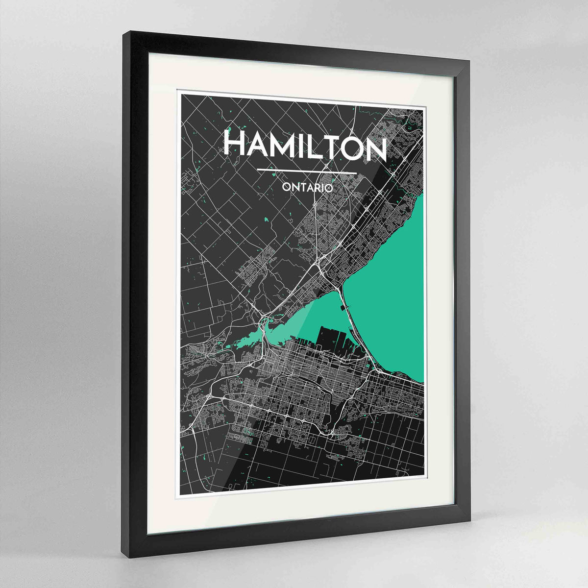 "Framed Hamilton City Map 24x36"" Contemporary Black frame Point Two Design Group"