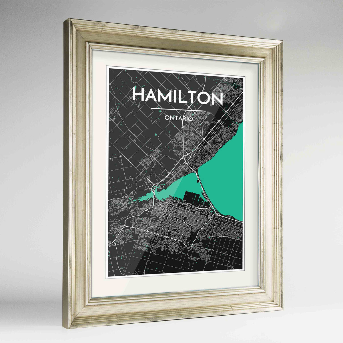 "Framed Hamilton City Map 24x36"" Champagne frame Point Two Design Group"