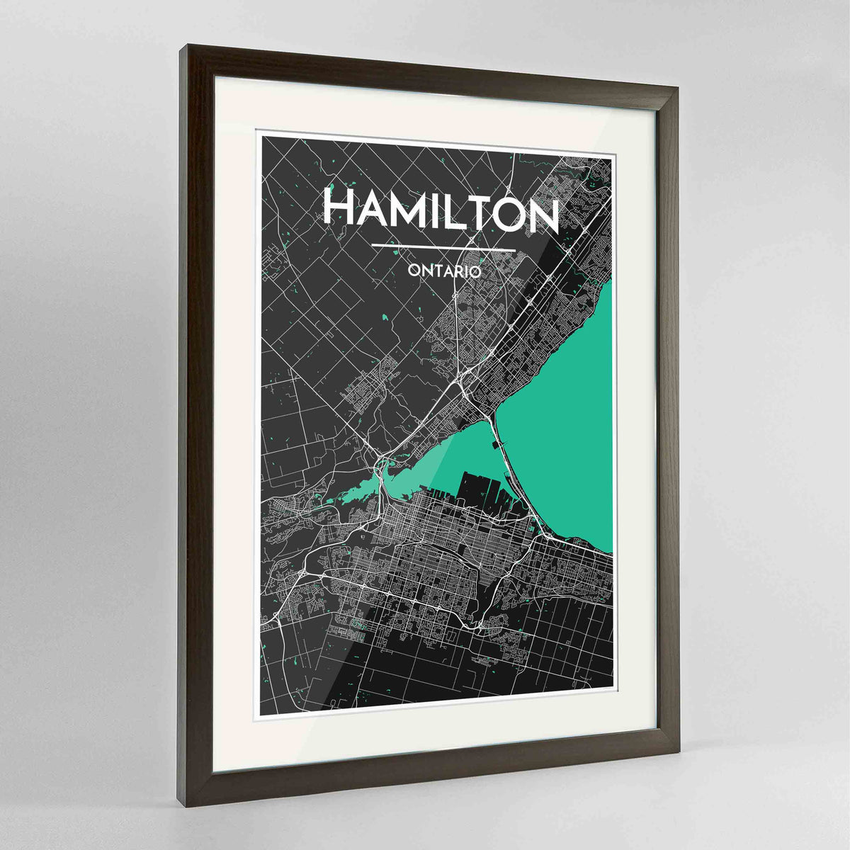 "Framed Hamilton City Map 24x36"" Contemporary Walnut frame Point Two Design Group"
