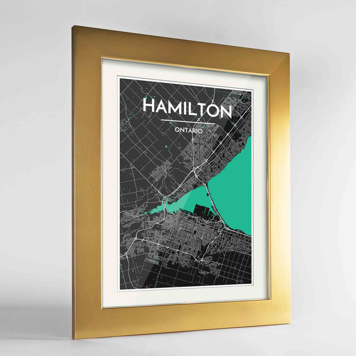 "Framed Hamilton City Map 24x36"" Gold frame Point Two Design Group"