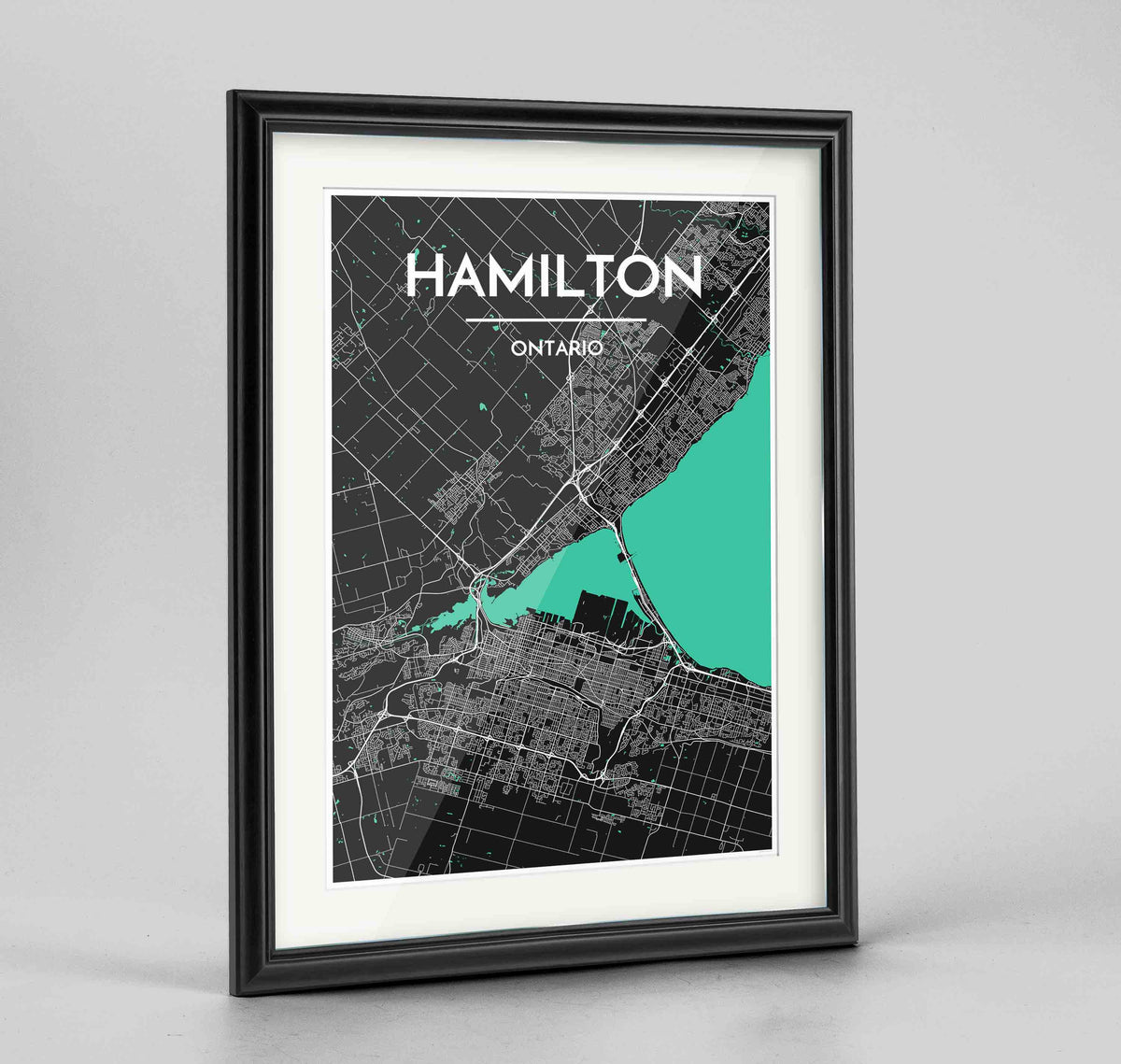 "Framed Hamilton City Map 24x36"" Traditional Black frame Point Two Design Group"
