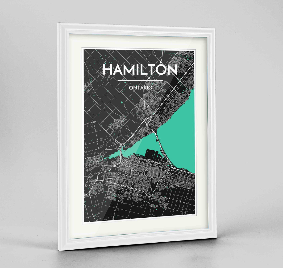 "Framed Hamilton City Map 24x36"" Traditional White frame Point Two Design Group"