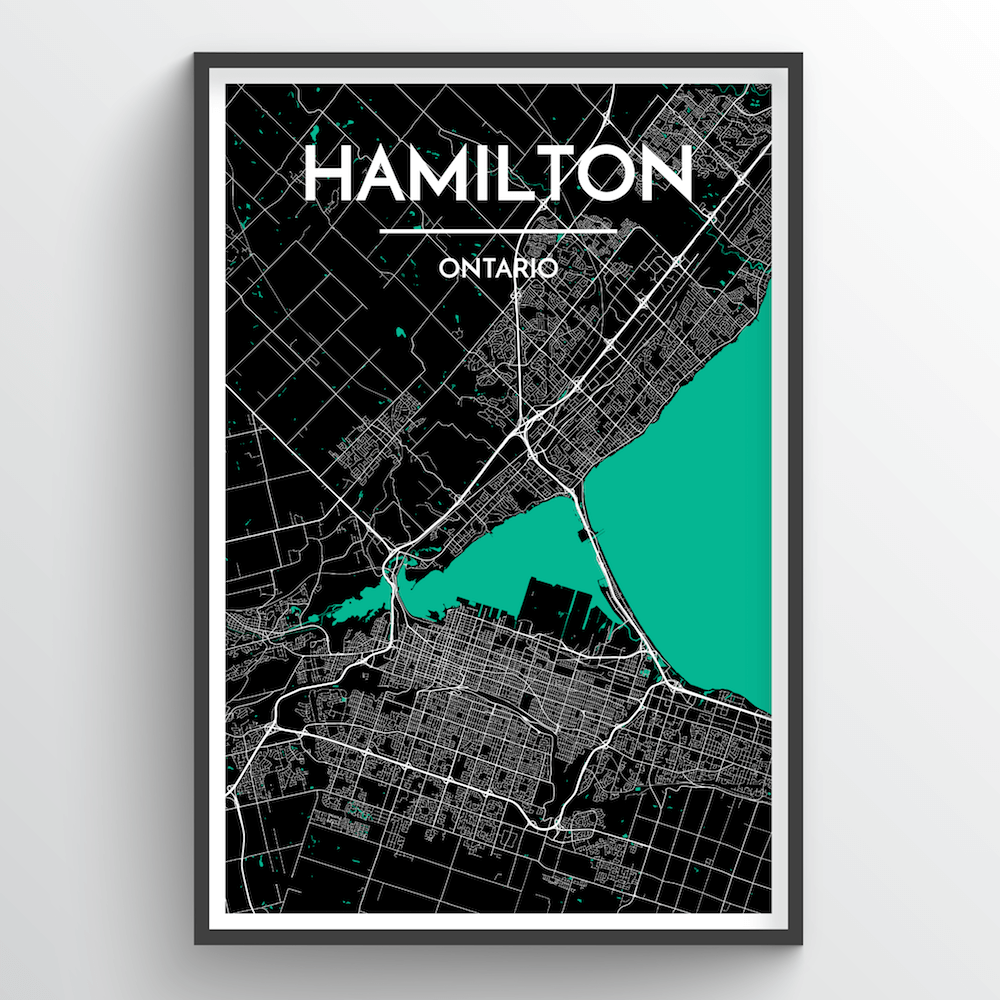 Hamilton City Map Art Print - Point Two Design