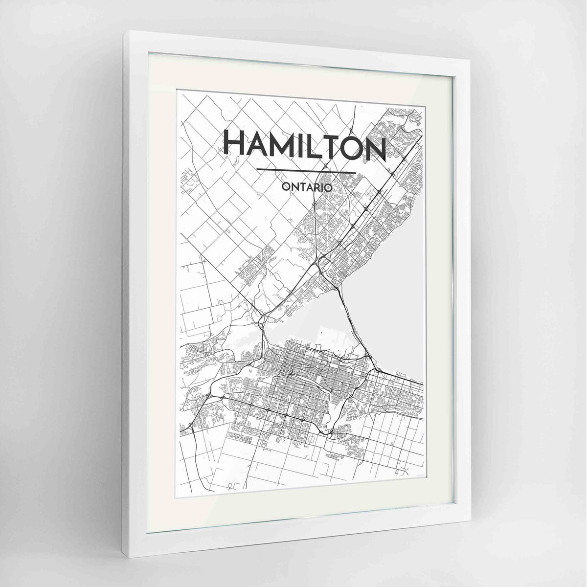 "Framed Hamilton City Map 24x36"" Contemporary White frame Point Two Design Group"