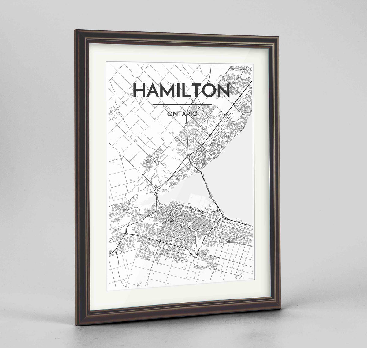 "Framed Hamilton City Map 24x36"" Traditional Walnut frame Point Two Design Group"