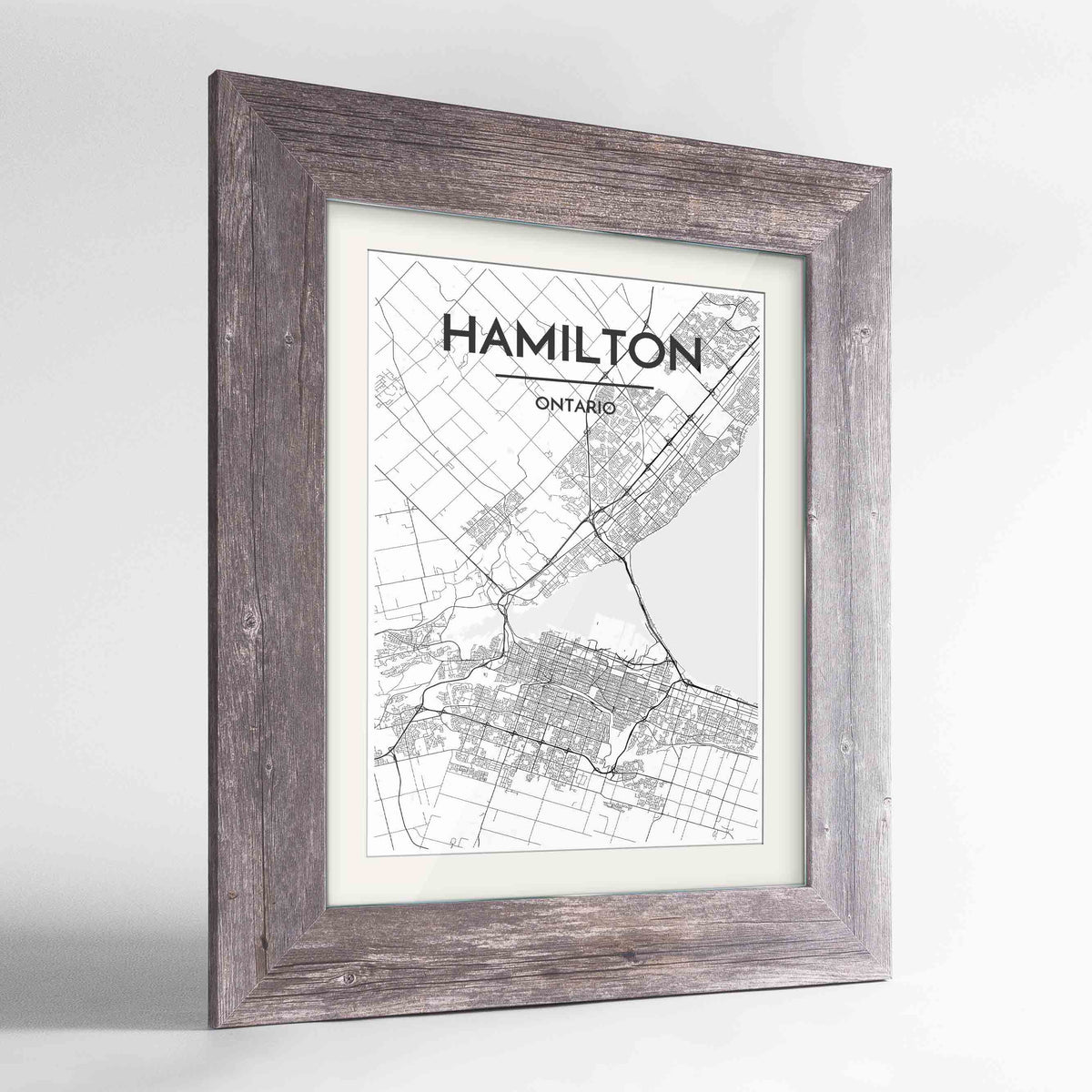 "Framed Hamilton City Map 24x36"" Western Grey frame Point Two Design Group"
