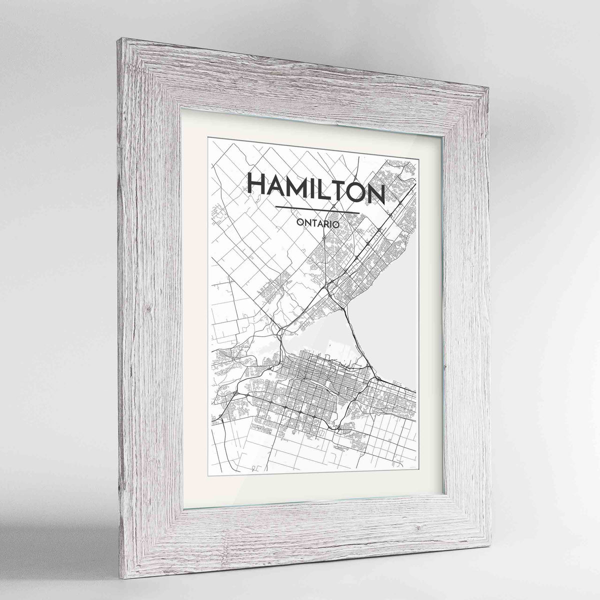 "Framed Hamilton City Map 24x36"" Western White frame Point Two Design Group"