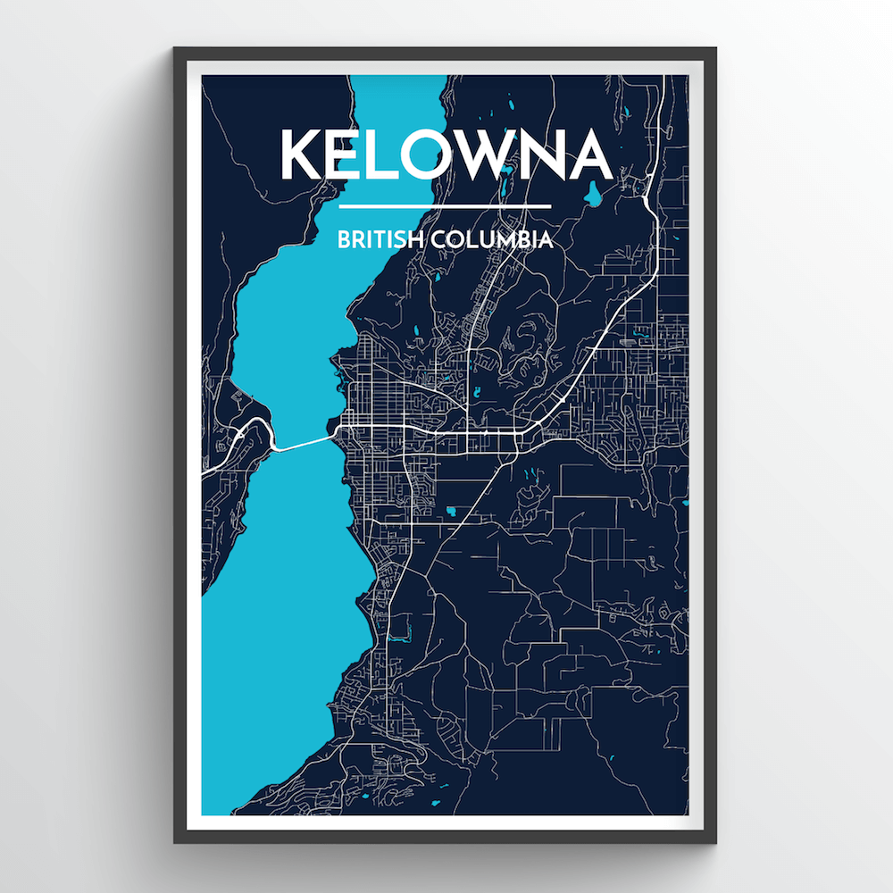 Kelowna City Map Art Print - Point Two Design